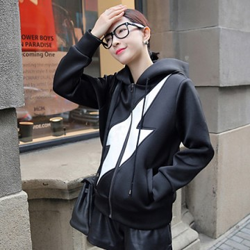 TE8966QQWL Casual lighting pattern hooded coat