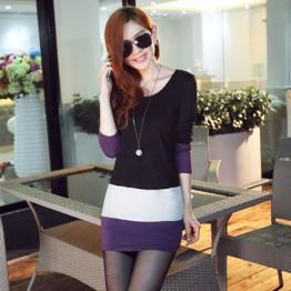 TE8980WMSS OL temperament long sleeve slim dress black