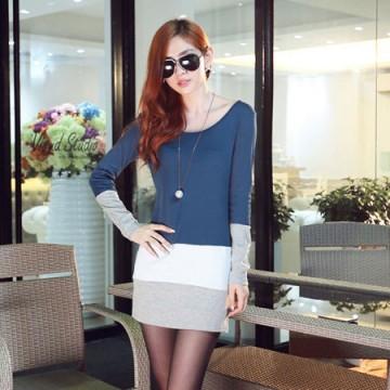 J41583 OL temperament long sleeve slim dress blue