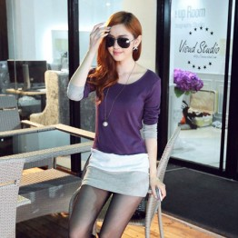 TE8980WMSS OL temperament long sleeve slim dress purple