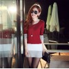 TE8980WMSS OL temperament long sleeve slim dress red