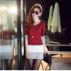 TE8980WMSS OL temperament long sleeve slim dress red