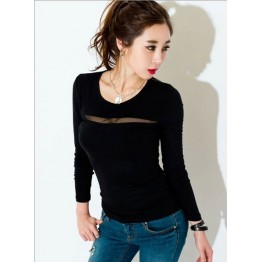 TE8981WMSS Sexy long sleeve grenadine splicing T-shirt black
