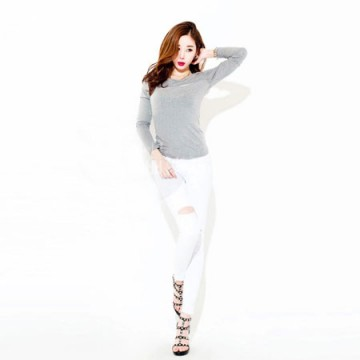 TE8981WMSS Sexy long sleeve grenadine splicing T-shirt grey