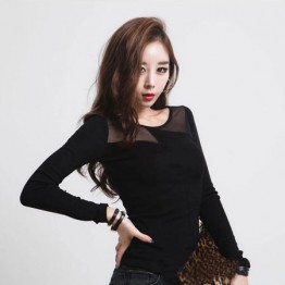 TE8983WMSS Long sleeve grenadine splicing T-shirt black
