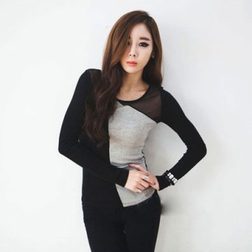 TE8983WMSS Long sleeve grenadine splicing T-shirt grey