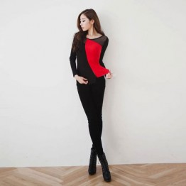 TE8983WMSS Long sleeve grenadine splicing T-shirt red