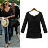 TE8987WMSS V-neck long sleeve Europe style T-shirt black