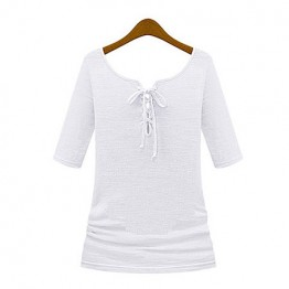 TE8987WMSS V-neck long sleeve Europe style T-shirt white