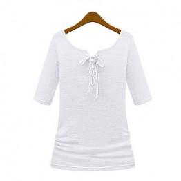 TE8987WMSS V-neck long sleeve Europe style T-shirt white
