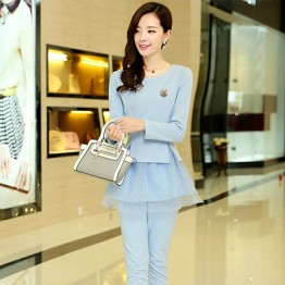 TE8896QQ Europe fashion elegant casual long sleeve tops with pants blue