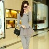 TE8896QQ Europe fashion elegant casual long sleeve tops with pants grey
