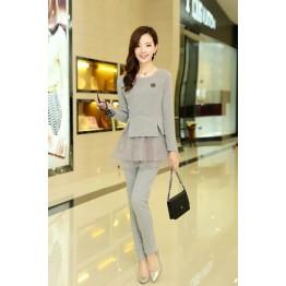 TE8896QQ Europe fashion elegant casual long sleeve tops with pants grey