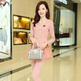 TE8896QQ Europe fashion elegant casual long sleeve tops with pants pink