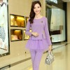 TE8896QQ Europe fashion elegant casual long sleeve tops with pants purple