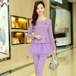 TE8896QQ Europe fashion elegant casual long sleeve tops with pants purple