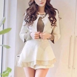 TE5701YF Korean fashion slim color matching coat with shorts white