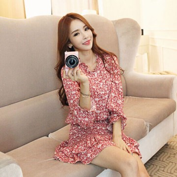 TE6557YYM Korean fashion lotus leaf vintage shivering dress red