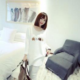 TE8892BL Embroidery pattern long fleece T-shirt