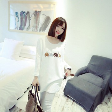 TE8892BL Embroidery pattern long fleece T-shirt