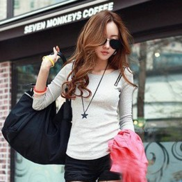 TE8993WMSS Round neck slim long sleeve T-shirt grey