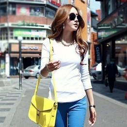TE8993WMSS Round neck slim long sleeve T-shirt white