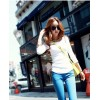 TE8993WMSS Round neck slim long sleeve T-shirt white