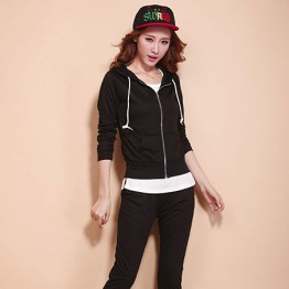 TE88219HNW Autumn casual tracksuit three pieces black