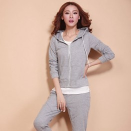 TE88219HNW Autumn casual tracksuit three pieces grey