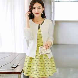 TE6351LDYZ Autumn rhinestone neckline dress with coat dot