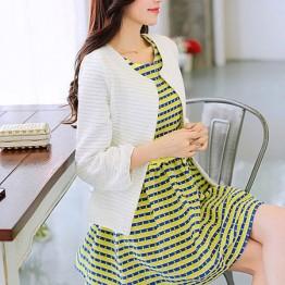 TE6351LDYZ Autumn rhinestone neckline dress with coat stripes