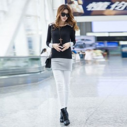 TE9853TT Contract color slim long T-shirt black