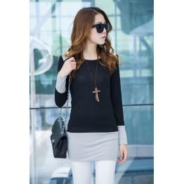 TE9853TT Contract color slim long T-shirt black