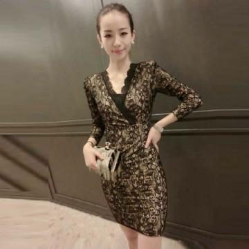 TE8055XWFC Europe fashion v-neck lace slim waist dress