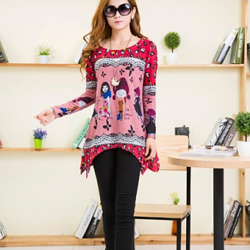 TE5921BLJL Irregular cartoon girl print loose T-shirt