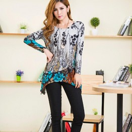 TE5922BLJL Irregular flowers print loose T-shirt