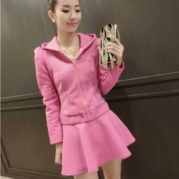 TE8215MN Korean fashion hooded tops with skirt