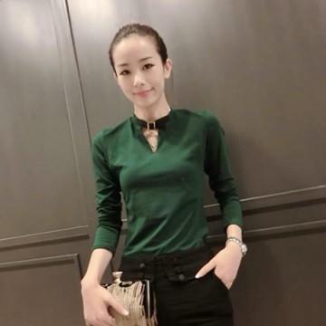 TE8214MN Korean fashion V-neck long sleeve T-shirt