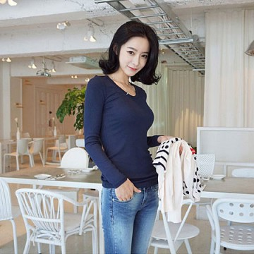 TE8988WMSS Korean fashion joker pure color backing T-shirt blue