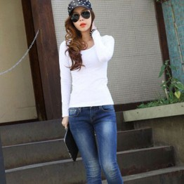 TE8988WMSS Korean fashion joker pure color backing T-shirt white