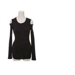 TE8984WMSS Korean fashion slim off shoulder backing T-shirt black