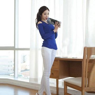 TE8984WMSS Korean fashion slim off shoulder backing T-shirt blue