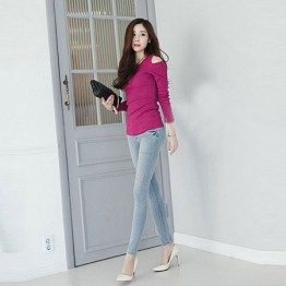 TE8984WMSS Korean fashion slim off shoulder backing T-shirt rose