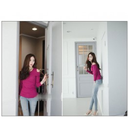 TE8984WMSS Korean fashion slim off shoulder backing T-shirt rose