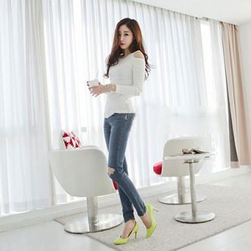 TE8984WMSS Korean fashion slim off shoulder backing T-shirt white