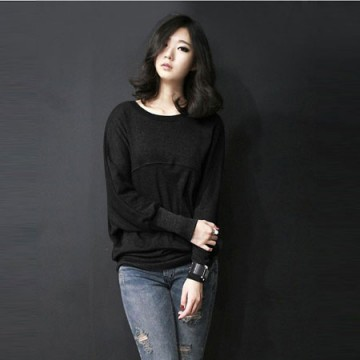 TE8986WMSS Korean fashion loose batwing sleeve backing T-shirt black