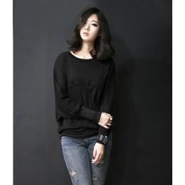 TE8986WMSS Korean fashion loose batwing sleeve backing T-shirt black