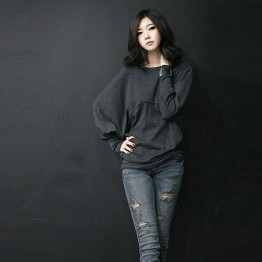 TE8986WMSS Korean fashion loose batwing sleeve backing T-shirt grey