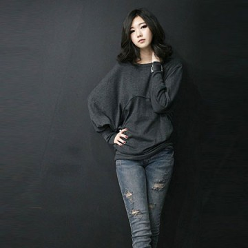 TE8986WMSS Korean fashion loose batwing sleeve backing T-shirt grey