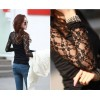 TE8992WMSS Korean fashion lace splicing slim backing T-shirt black